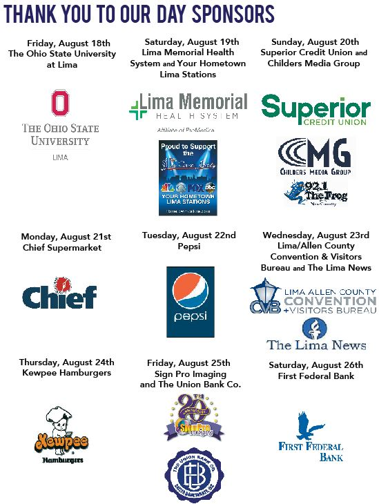 Graphic of 2017 Allen County Fair Day Sponsors:The Ohio State University Lima, Lima Memorial Health System, Superior Credit Union, Childers Media Group, WLIO Hometown Stations, Chief Supermarket, Pepsi, Lima/Allen County Convention and Visitors Bureau, The Lima News, Kewpee Hamburgers, Sign Pro Imaging, The Union Bank Company, and First Federal Bank